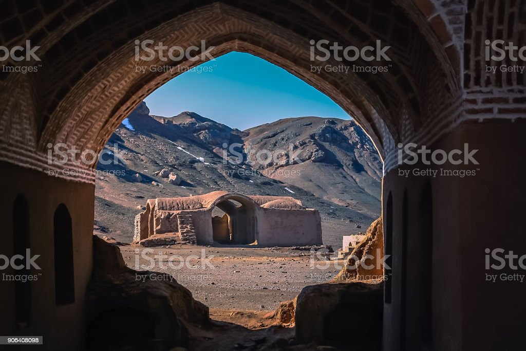 Ruins of the Zoroastrian Fire Temple in Yazd stock photo