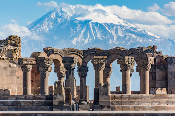 Ruins of the Zvartnos temple in Yerevan, Armenia Ruins of the Zvartnos temple in Yerevan, Armenia, with Mt Ararat in the background yerevan stock pictures, royalty-free photos & images