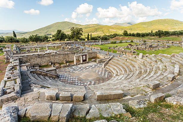 ruins of theater in Ancient Messinia, Peloponnes, Greece stock photo