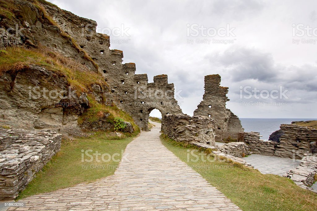 Ruins of Tintagel castle in North Cornwall coast, England stock photo