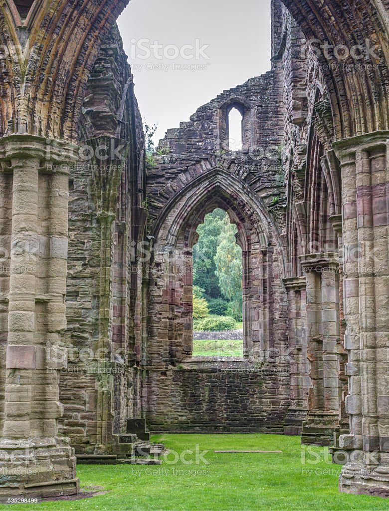 Ruins of Tintern Abbey, a former church in Wales stock photo