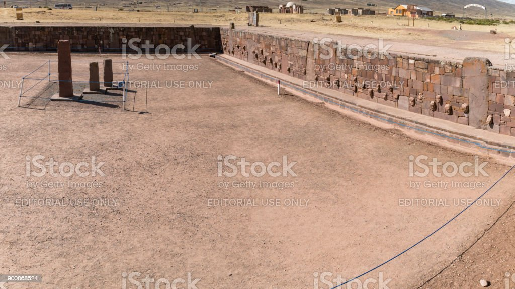 Ruins of Tiwanaku is a Pre Columbian archaeological site in western Bolivia stock photo