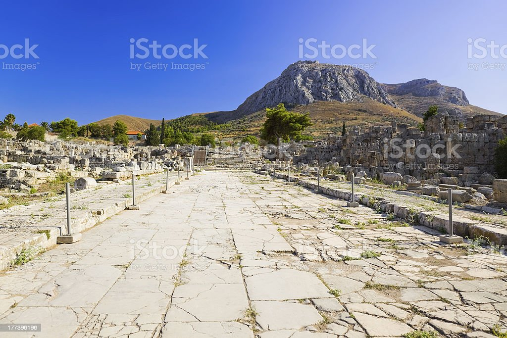 Ruins of town in Corinth, Greece royalty-free stock photo