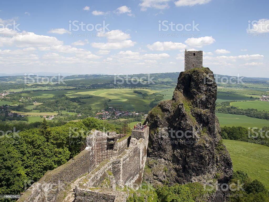 Ruins of Trosky castle stock photo