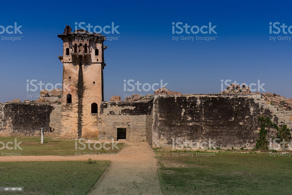 Ruins of two old churches stock photo