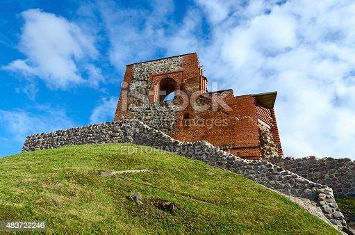Vilnius, Lithuania - July 10, 2015: The ruins of the Upper Castle Vilna against the bright blue sky, Vilnius