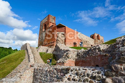 Vilnius, Lithuania - July 10, 2015: Unidentified tourists are near the ruins of the Upper Castle Vilna on Mount Gediminas, Vilnius, Lithuania