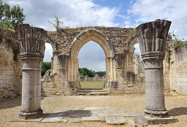 Ruins of Vauclair abbey Cistercian monastery founded by Saint Bernard de Clairvaux in 1134,Picardy,France. aisne stock pictures, royalty-free photos & images