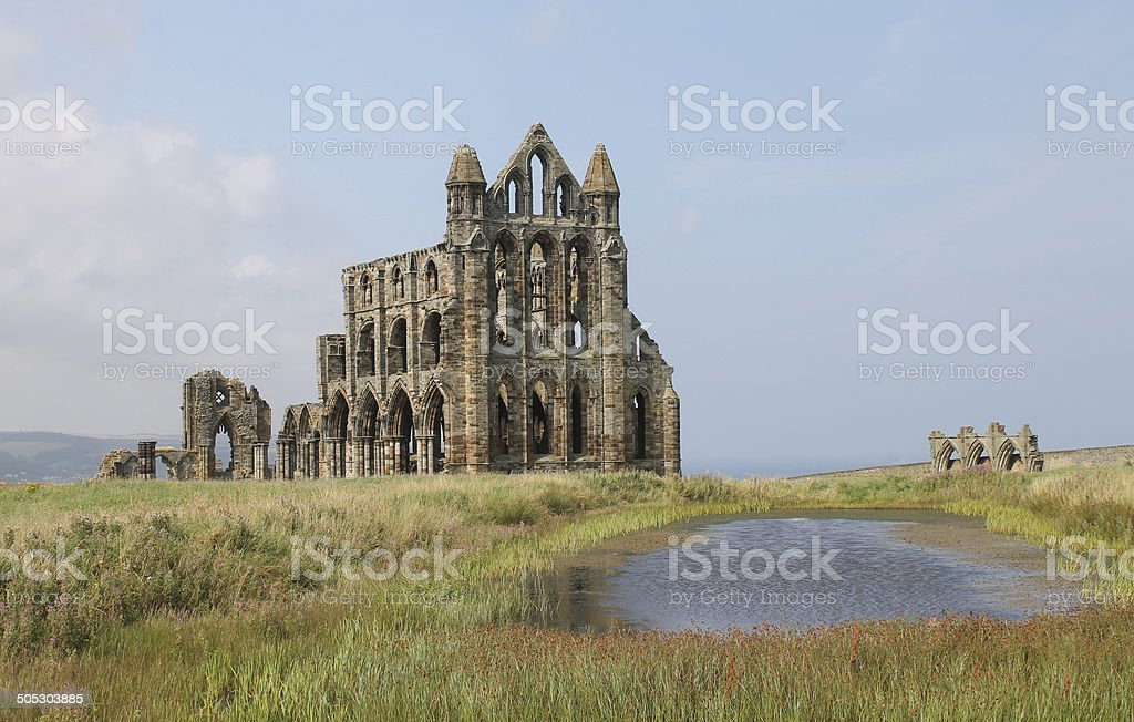 Ruins of Whitby Abbey, Yorkshire stock photo