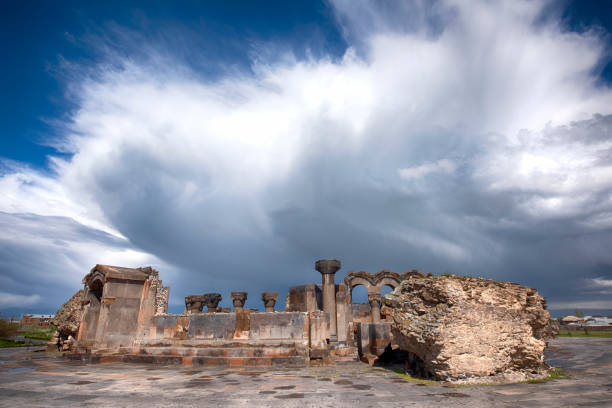 Ruins of Zvartnots Cathedral next to Yerevan, Armenia stock photo