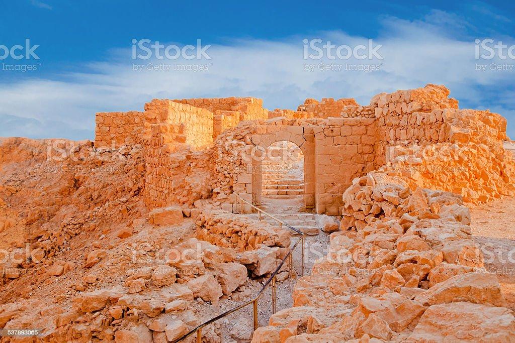 Ruins on Massada at sunset stock photo