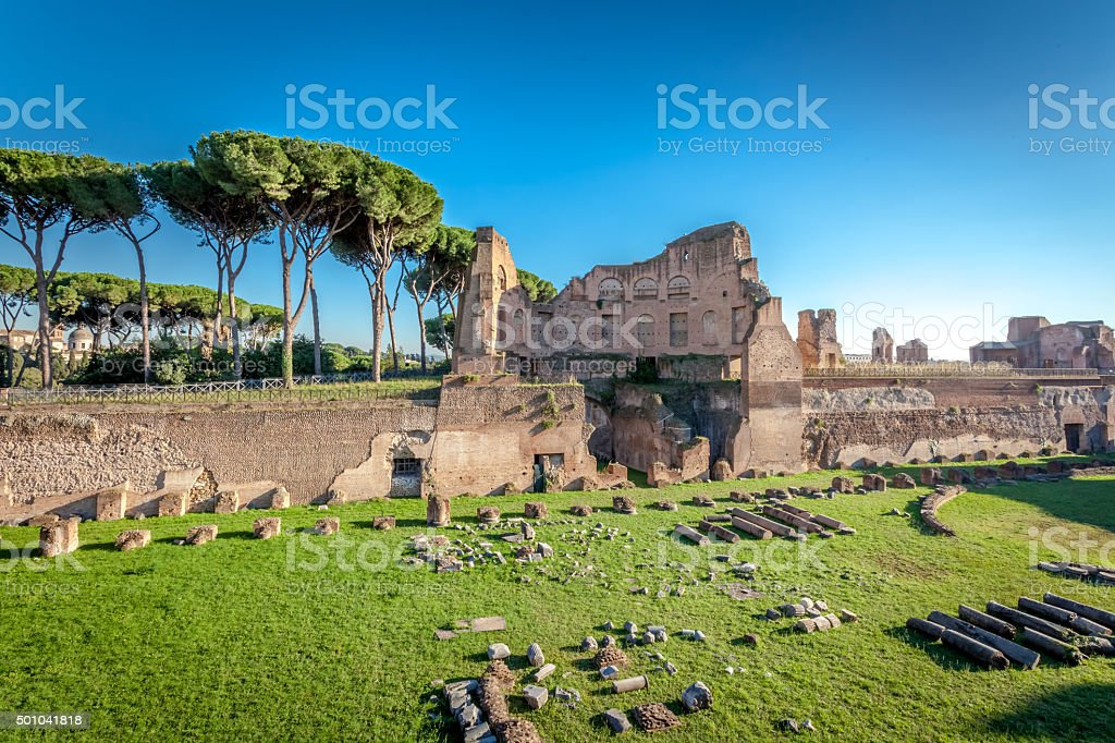 Ruins on the Palatine hill stock photo