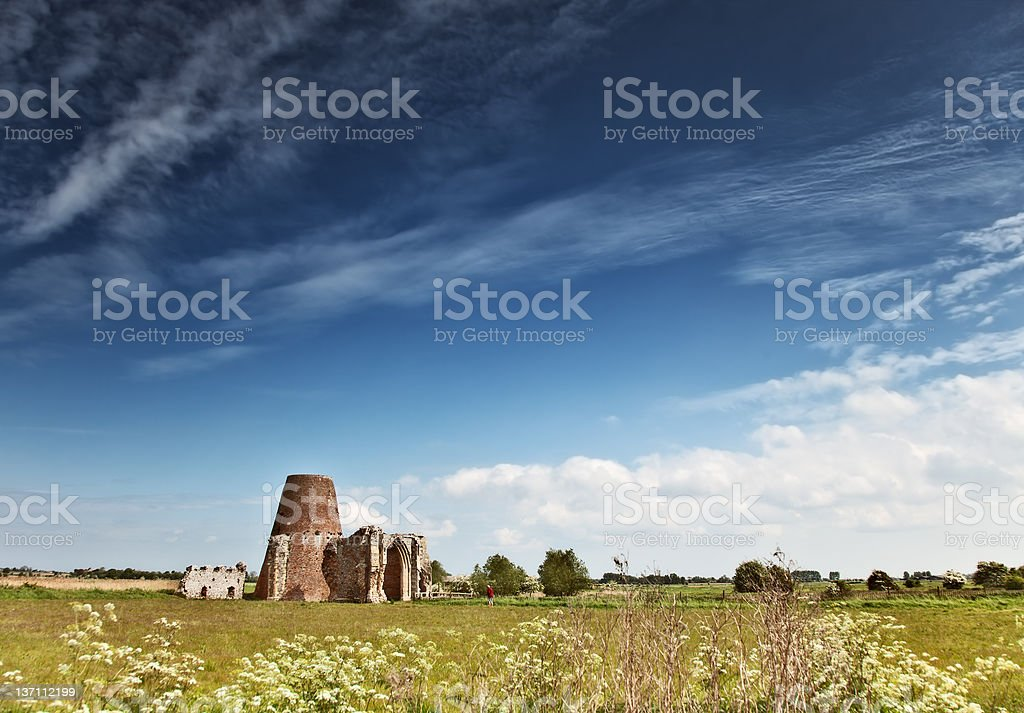ruins under a blue sky stock photo