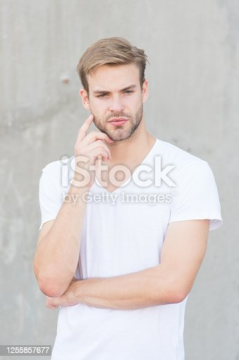 Rule yourself. summer male fashion. student unshaven face stylish hairstyle. Bearded man casual style. portrait of male attractiveness. young sexy guy gray background. unshaved macho man.