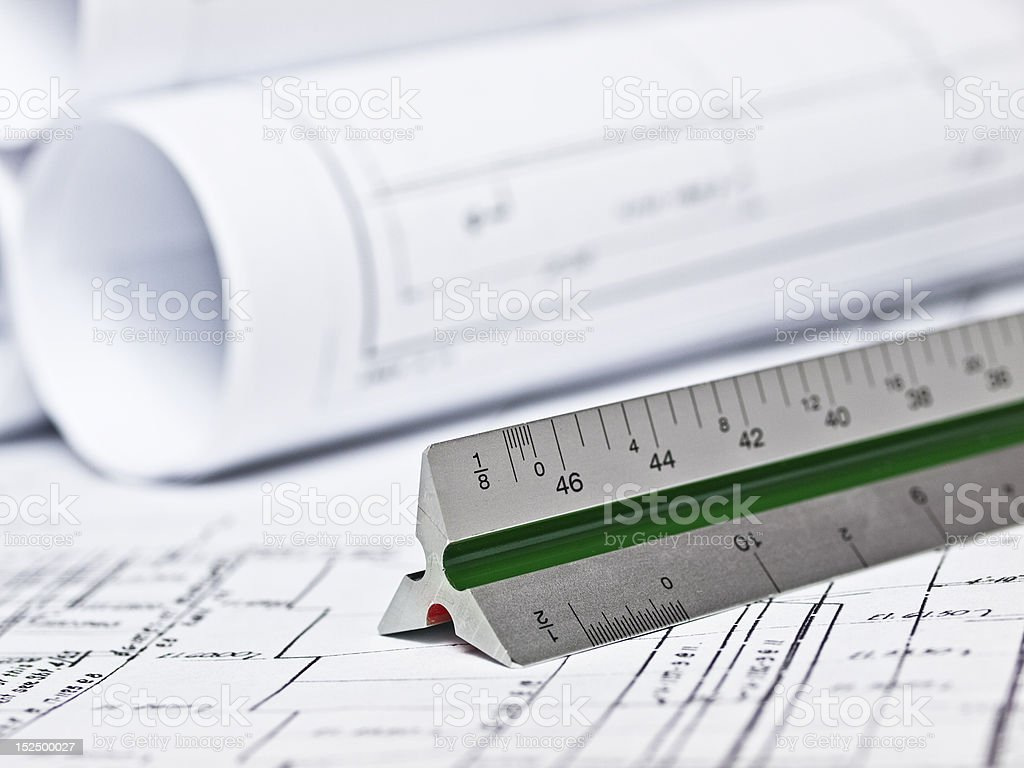 Ruler and Engineering Plans royalty-free stock photo