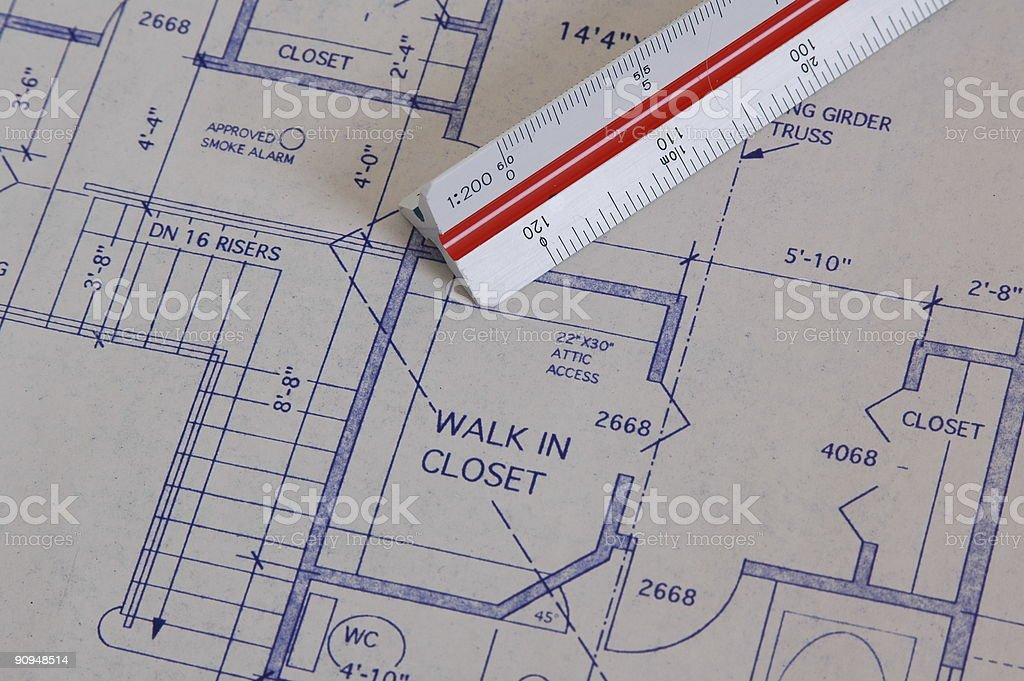 Ruler on Blueprint royalty-free stock photo