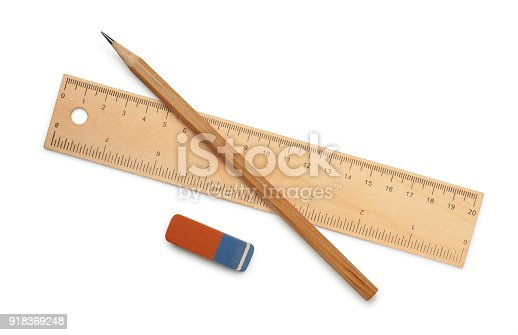istock Ruler, pencil and eraser 918369248