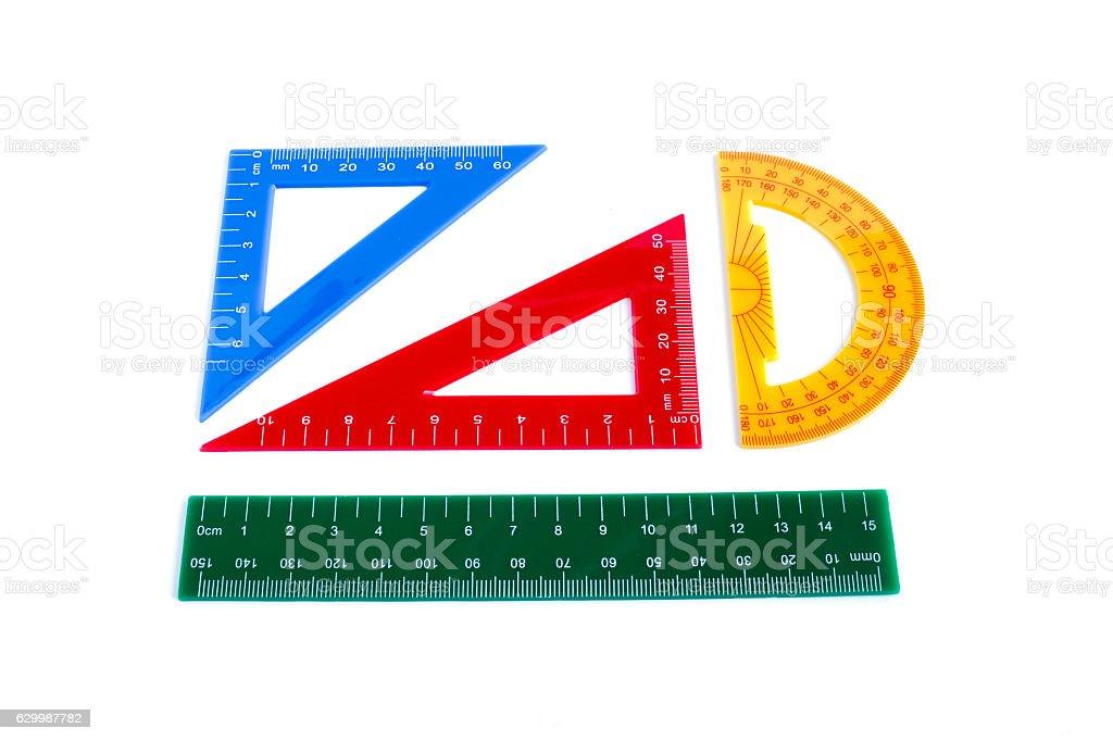 ルーラー、三角形および分度器 ストックフォト
