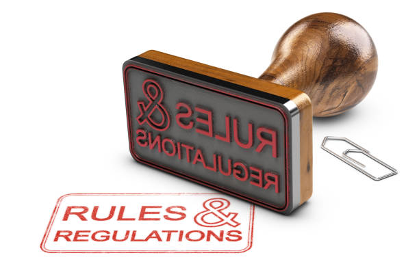 Rules and Regulations Over White Background stock photo