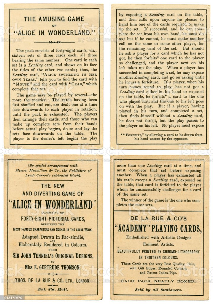 Rules for Alice In Wonderland playing cards 1898 stock photo