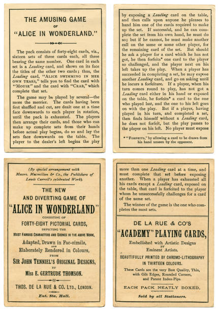 rules for alice in wonderland playing cards 1898 - whiteway alice in wonderland stock photos and pictures