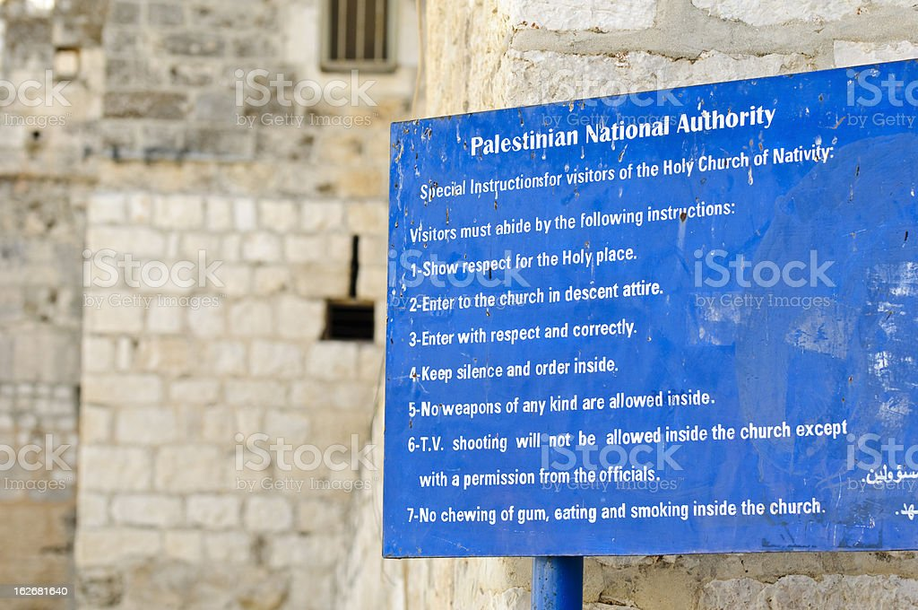 Rules for Church of the Nativity stock photo