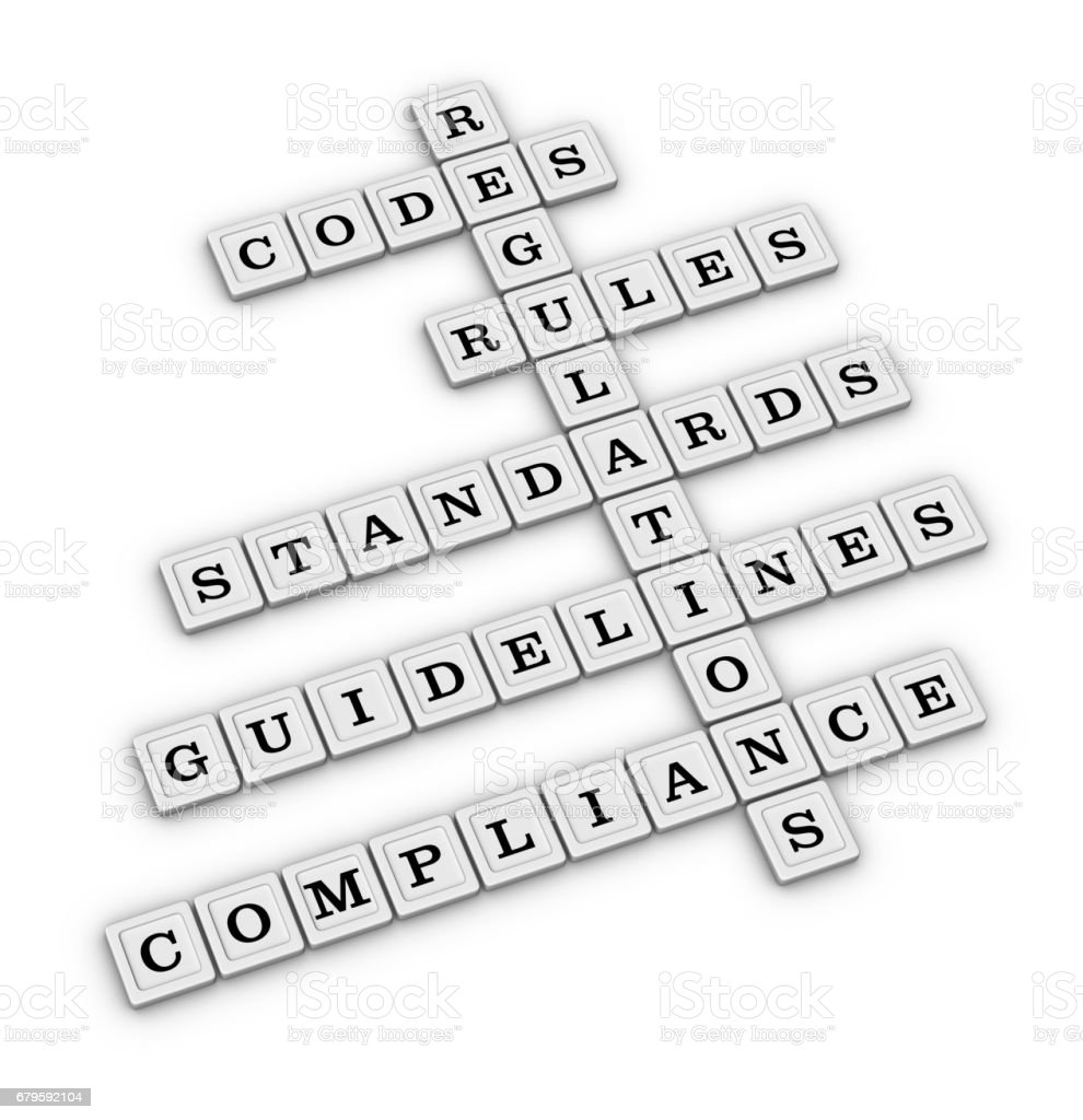 Rules Guidelines Regulation crossword puzzle stock photo