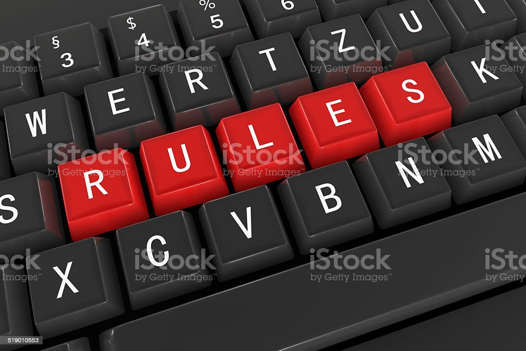 Rules, Keyboard Concept stock photo