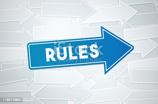 istock Rules Text Concept On Blue Directional Sign 1159743651