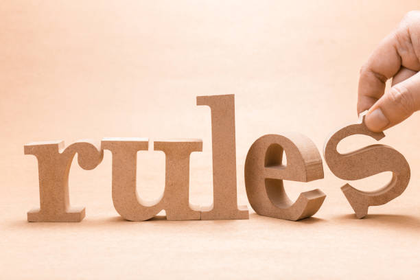 Rules Wood Word stock photo