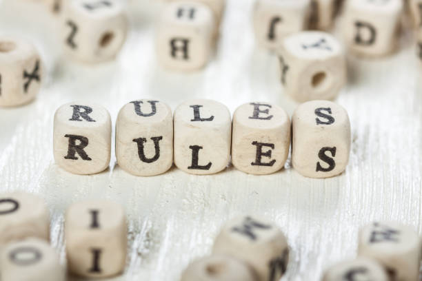 Rules word written on wood block. stock photo