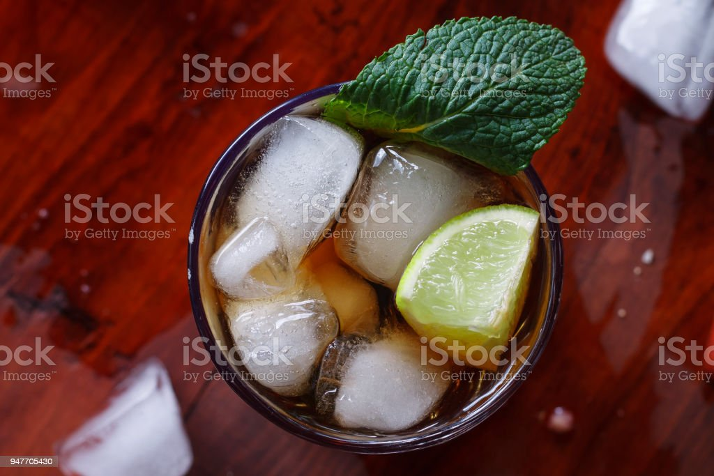 rum, cola, cocktail, alcohol, refreshing, non-alcoholic, bar, stock photo