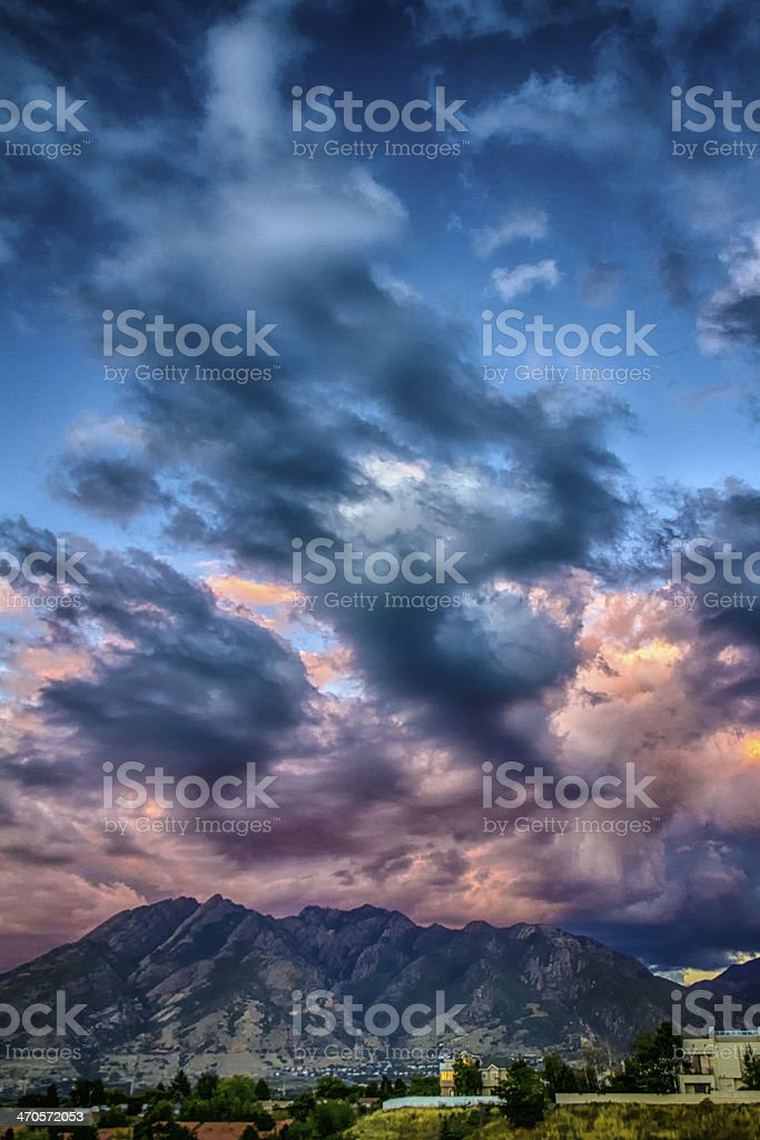 Rumble Over the Wasatch HDR stock photo