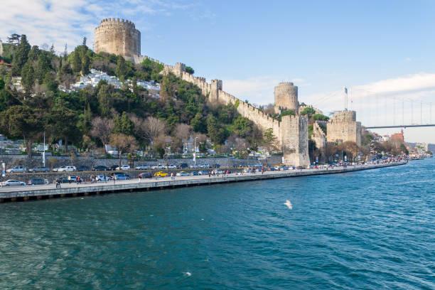 Rumelihisari (Bogazkesen Castle, Rumelian Castle), located at the hills of the European side of Bosphorus Strait, Istanbul, Turkey stock photo