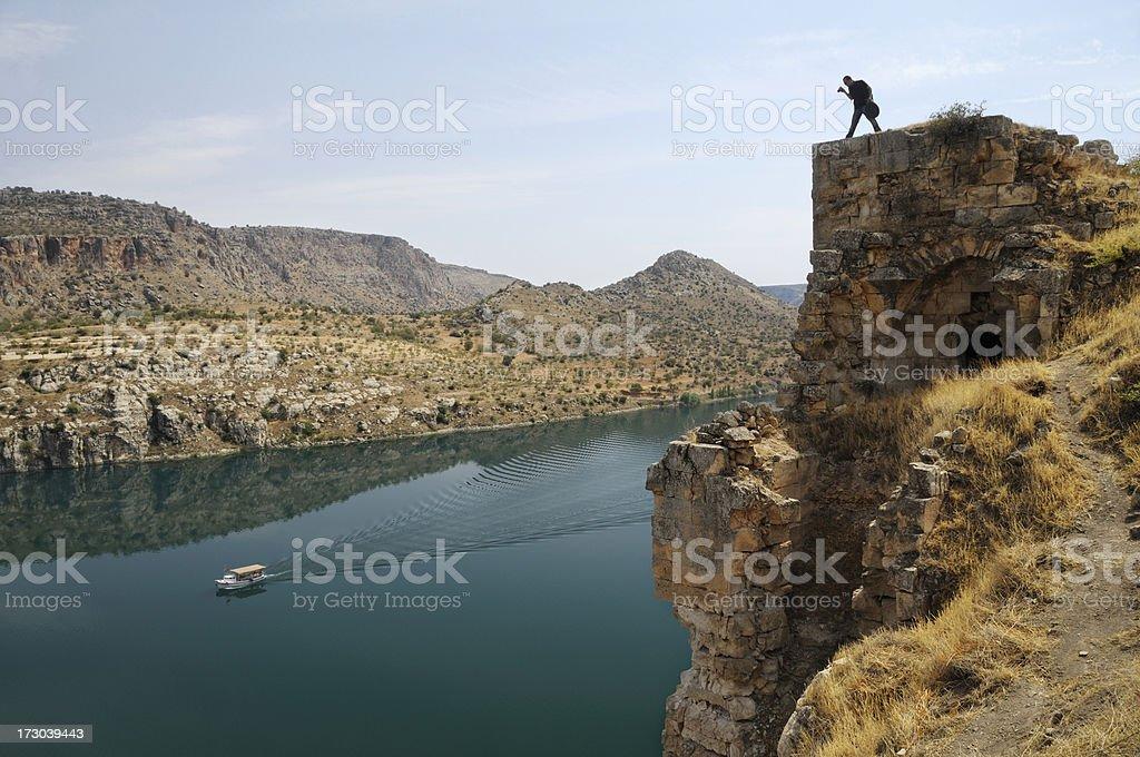 Rumkale and Firat River in Halfeti, Gaziantep, Turkey stock photo
