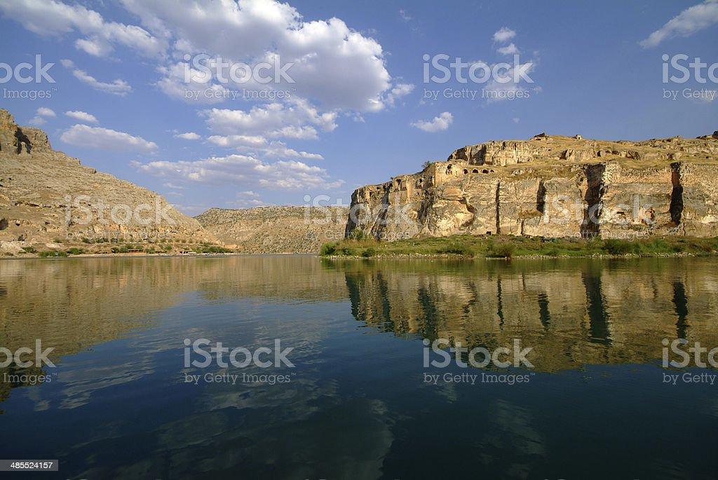 Rumkale and Firat River stock photo