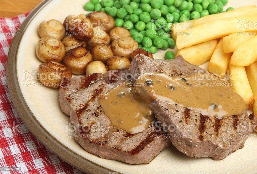 Rump Beef Steak with Pepper Sauce Dinner stock photo
