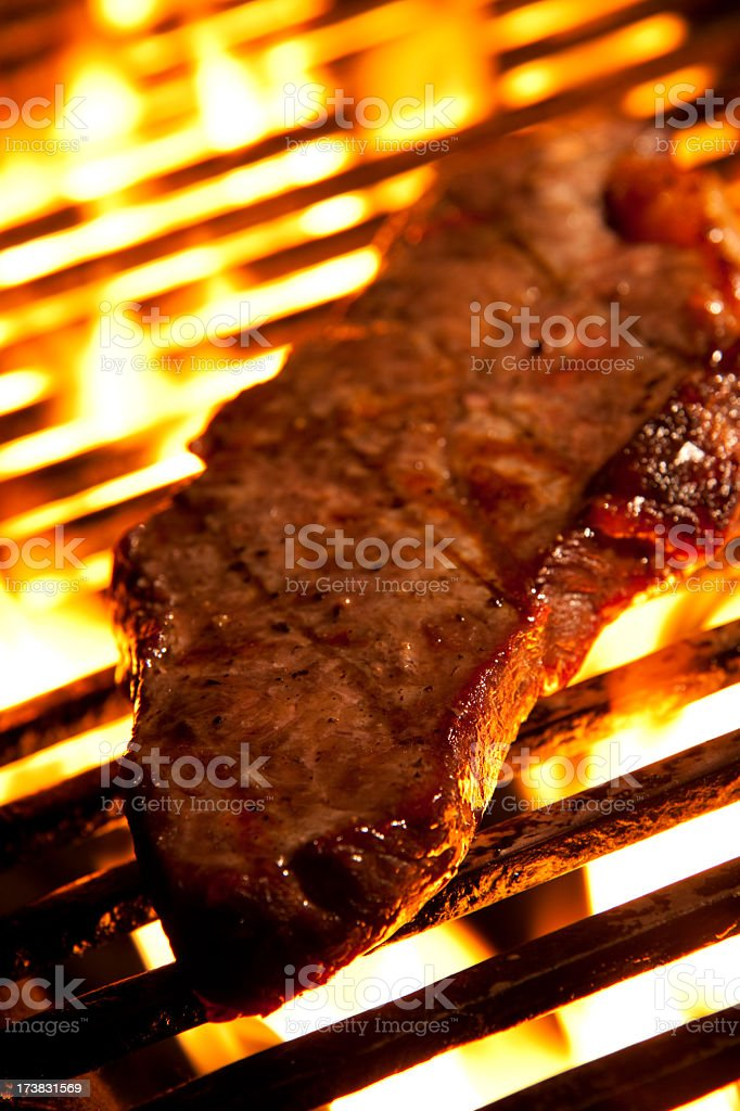 Rump steak and fire royalty-free stock photo