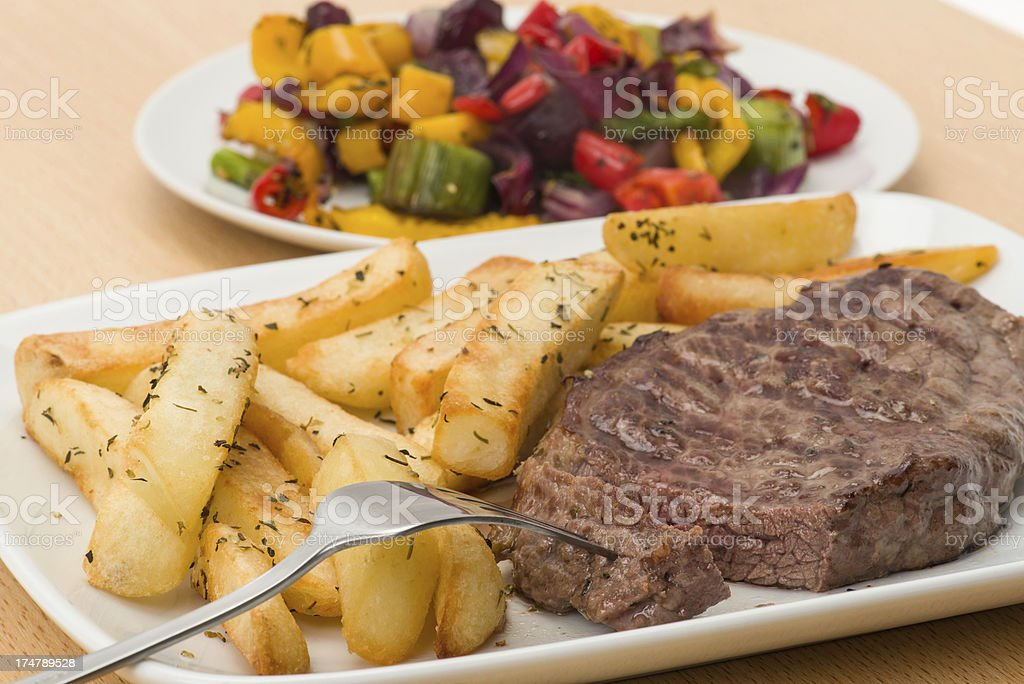 Rump steak and fries royalty-free stock photo