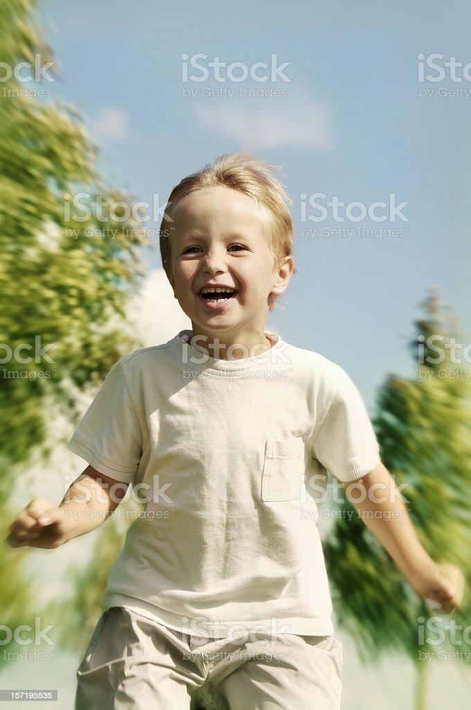 Run Boy! stock photo
