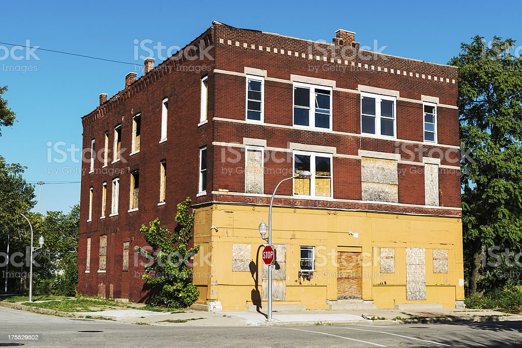 Run Down Apartment Building Fuller Park Chicago Royalty Free Stock Photo