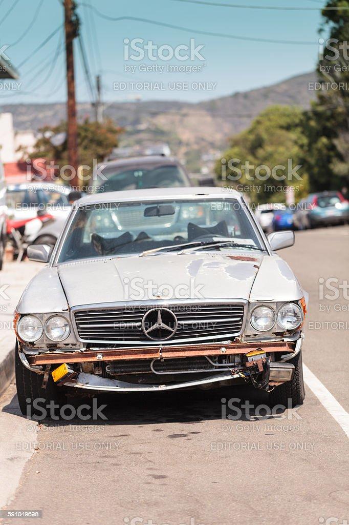 Run down classic Mercedes benz pagoda sports car stock photo