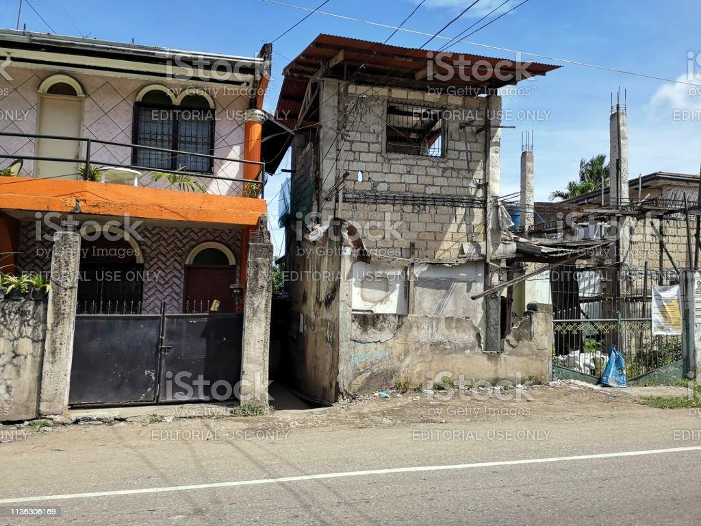 Run down houses in Bogo city, Cebu, Philippines stock photo
