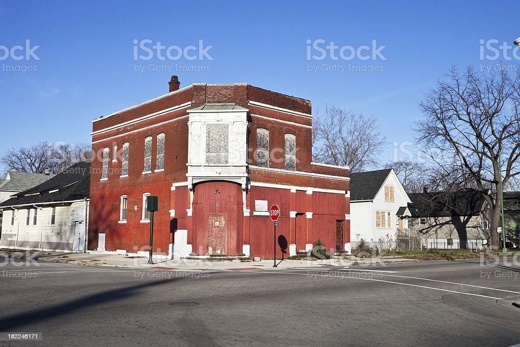 Run Down Neighborhood Church in Englewood. Chicago royalty-free stock photo