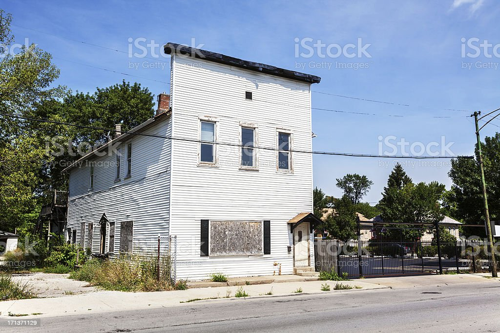 Run down Victorian commercial building in Chicago royalty-free stock photo