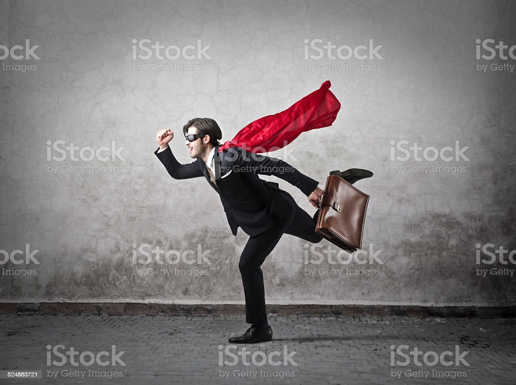 Run like a superhero stock photo