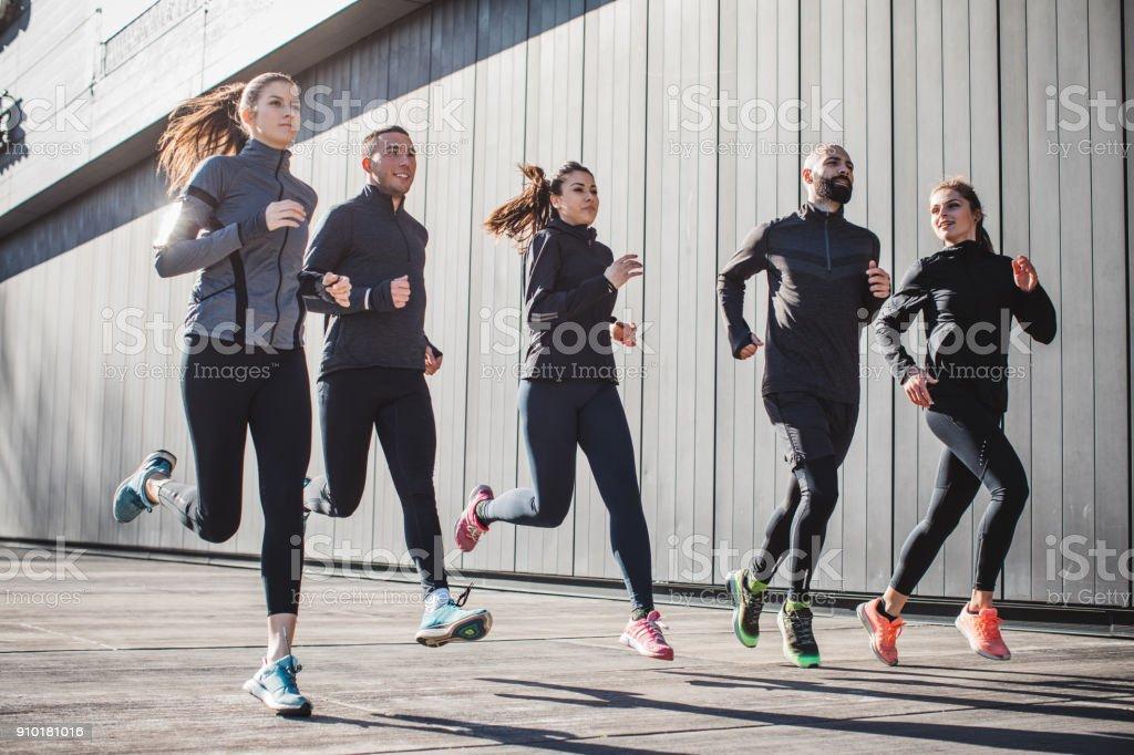 Run like you never run before stock photo