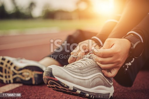 woman prepares to run for exercise.Health care concept