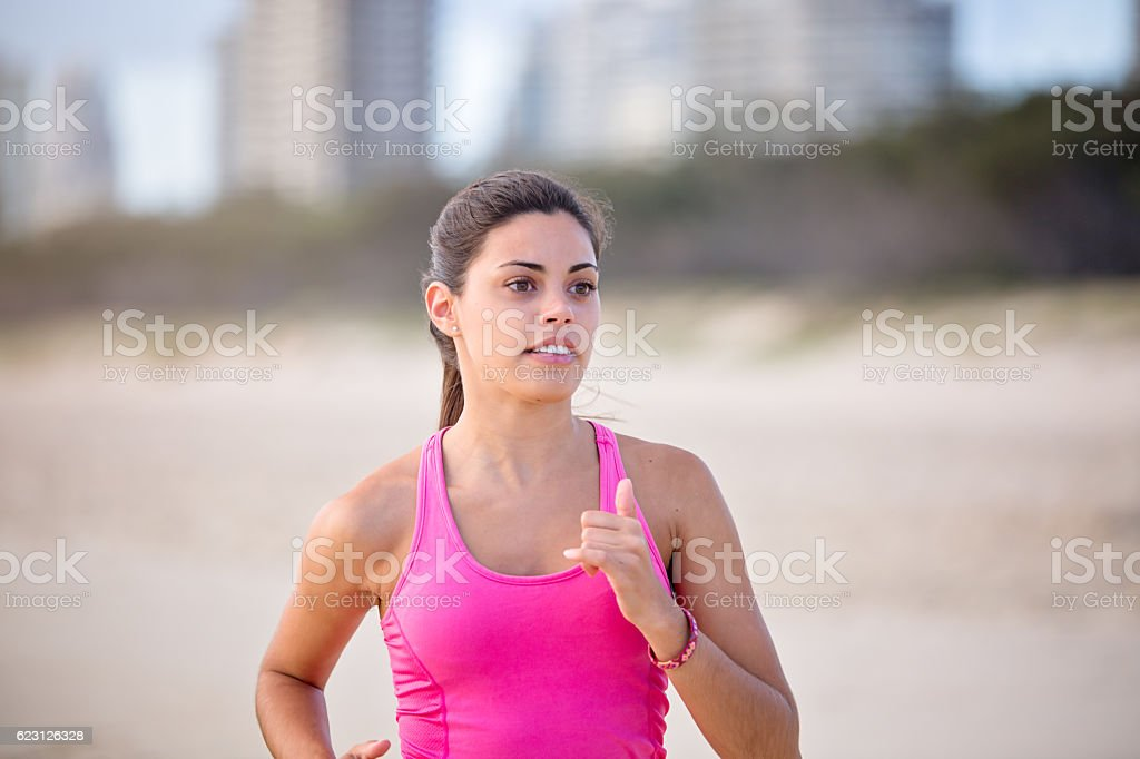 Run with determination and courage stock photo