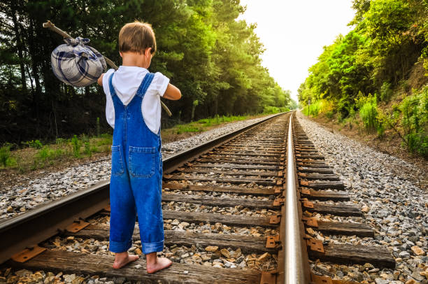 A Runaway Boy stock photo